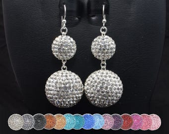 HUGE 22mm (1 inch) and 14mm Pave Crystal Disco Ball Bead Earrings  - White, Gray, Black, Pink, Purple, Blue, Red, & Turquoise