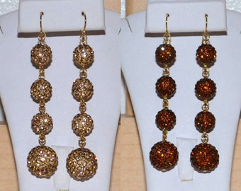 10mm and 14mm Gold and Bronze Pave Crystal Disco Ball Dangle Earrings