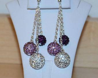 14mm White Clear, 12mm Light Purple Lavender, 10mm Darker Purple Rhinestone Pave Crystal Disco Ball Bead Dangle Earrings