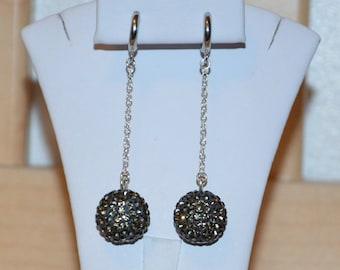 Gray Rhinestone Crystal Pave Earrings: 14mm