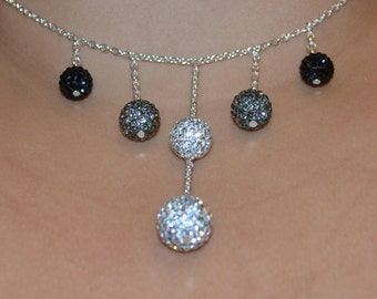 Rhinestone Crystal Pave Necklace: 14mm, 12mm, and 10mm - Black, Gray, White, Clear