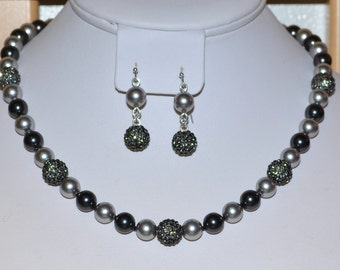 Hand-Knotted 8mm Swarovski Pearl Necklace in Black and Gray with 10mm Gray Pave Crystal Disco Ball Beads on Silk Thread with Earrings - SW8