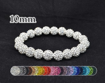 10mm White Pave Crystal Ball Bead Stretch Bracelet - 1020B