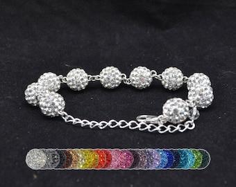 10mm White Pave Crystal Disco Ball Bead Bracelet
