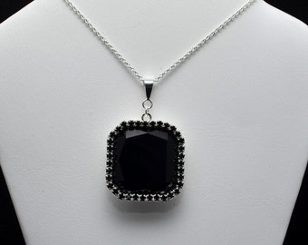 23x23mm Swarovski Faceted Square Pendant Surrounded by 2mm Crystals- Many Different Colors - SW8FP