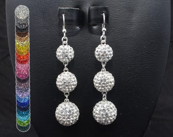 White Clear Rhinestone Crystal Pave Dangle Earrings 14mm, 12mm, 10mm