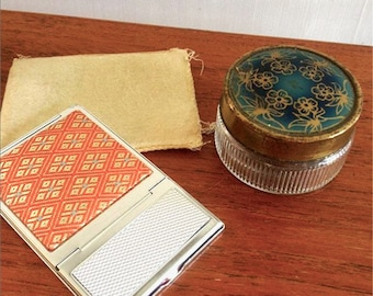 Mirror Compact and Glass Jar - Makeup/Bathroom Accessories