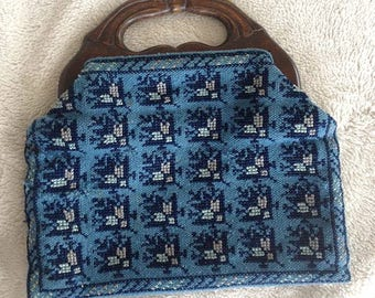 Vintage Blue Needle Point Purse with Wooden Handles - Clutch Bag