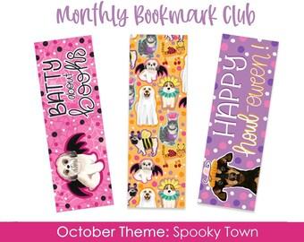 Monthly Bookmark Club, October Theme- Spooky Town, Dog Bookmarks, Halloween Bookmark, Corgi, Golden Retriever, Pug, Dog Mom