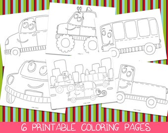 Car Coloring Pages Printable Birthday Party Activity Boys Kids