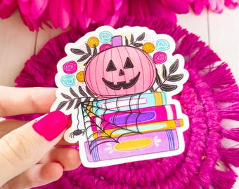 Halloween Book Stack Vinyl Sticker, Boooooookworm Sticker, Spooky Season, Halloween Sticker