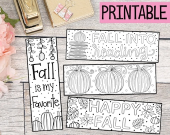 Printable Coloring Fall Bookmarks - Set of 4 - Coloring Bookmarks - Autumn - Pumpkins - Fall into Reading