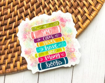"""You Can Never Have Too Many Books Magnet - Book Cart Magnet - Bookworm - Fridge Magnet - 3"""""""