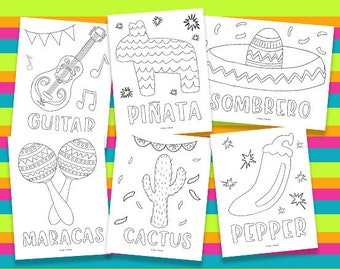 Fiesta Coloring Pages Printable Birthday Party Activity Kids Mexican