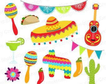 Fiesta Digital Clipart, Cinco De Mayo Clipart, Commercial Use, Instant Download, PNG, Sombrero Clipart