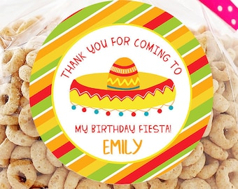 189a0544485 Fiesta Birthday Personalized Stickers - Birthday Favor Stickers - Thank You  For Coming - Fiesta Treat Bags - Sheet of 12 or 24