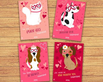 Kitty Valentine Cards Kids Cat Valentine S Day Cards Etsy