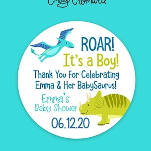 Baby Boy Girl Shower Decoration Set of 12 Gender Reveal Dinosaur Baby Shower /'Thanks for stomping by NAME baby shower!/' Favor Tags