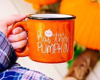 Hey There Pumpkin Fall Campfire Stoneware Speckled Mug, 15 oz, Fall Mug, Halloween Mug, Orange