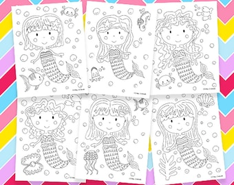 Mermaid Coloring Pages Printable Birthday Party Activity Girls Kids