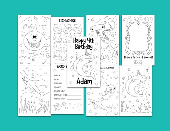 Printable Shark Kids Birthday Coloring Book - Birthday Activity Book -  Customized Coloring Book - Shark Party - Printable Coloring Pages