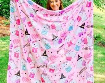 "Reading Ghosts Halloween Minky Blanket 50x60"" - Halloween Blanket - Fluffy Blanket - Bookish Blanket"