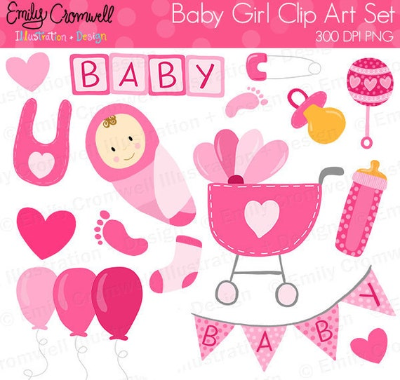 Baby Girl Digital Clipart Baby Shower Commercial Use Etsy