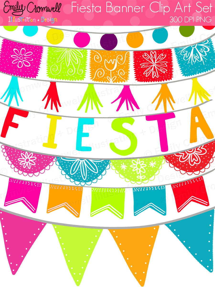 Fiesta Banners Digital Clipart Fiesta Mexican Fiesta Cinco ...