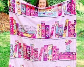 "Purple Library Book Stack Minky Blanket 50x60"" - Bookish Blanket - Fluffy Blanket"