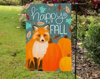 Happy Fall Yard Flag - Fall Decor - Outdoor Decor - Garden Flag - Fox - Pumpkins