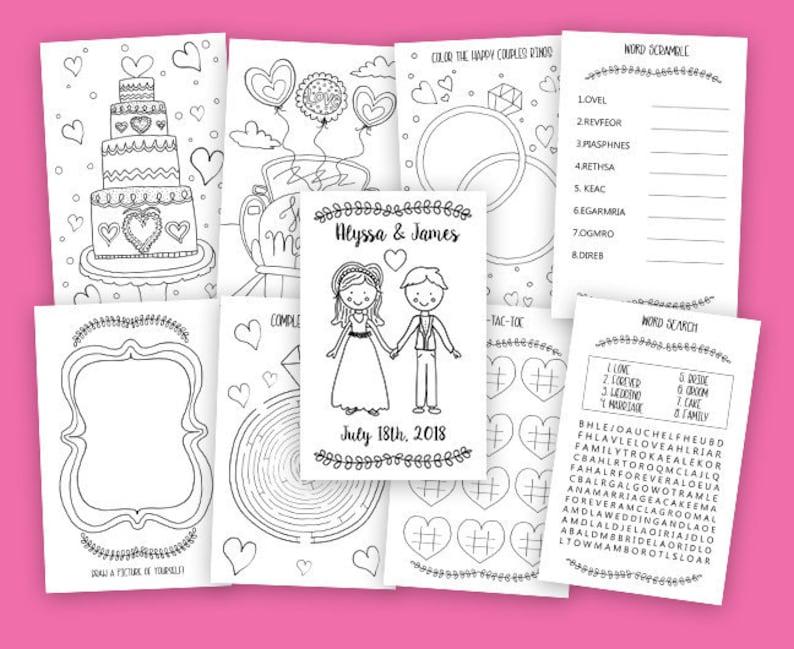 Druckbare Kinder Malbuch Hochzeit Hochzeit Aktivität Buch Individuelle Malbuch Diy Hochzeit Malvorlagen