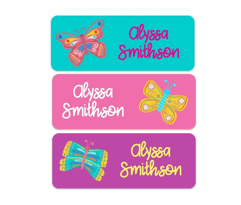 Butterfly Name Labels School Name Labels Weatherproof Name Labels Girls Name Labels Personalized Name Labels 30 Labels