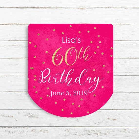 Custom Printed labels 70th Birthday Party Favors 40th birthday 60th Birthday set of 30 labels 50th birthday Hand Sanitizer Labels