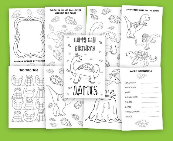 Printable Dinosaur Kids Birthday Coloring Book - Birthday Activity Book -  Customized Coloring Book - Dino Party - Printable Coloring Pages