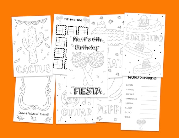 Printable Fiesta Kids Birthday Coloring Book - Birthday Activity Book -  Customized Coloring Book - Fiesta Party - Printable Coloring Pages