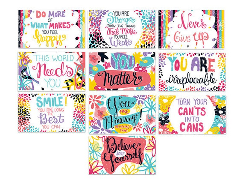 Mini Encouragement Cards Set of 10 Positive Affirmation image 0