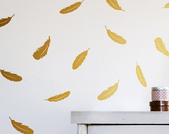 Feather Wall Decal - Feather Decals, wall decal, vinyl wall decal, gold wall decal, nursery wall decals, Feather wall art