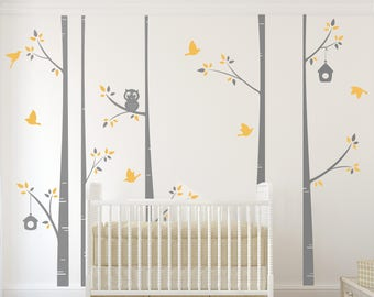 Birch Tree set with - owl - birds and birdhouses - Wall decal - wall stickers for kids - fall leaves - baby room decor - modern wallpaper