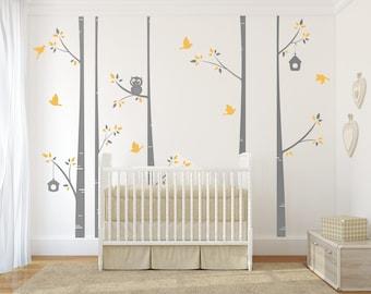 Modern Birch Tree Decal Set -birch tree decal, nursery birch decal, tree wall decal, five Birch Trees, Vinyl Wall Decal, owl wall decal