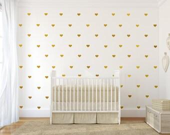 Wall Decal Wall Sticker Nursery Art Gold Wall Decals Wall Pattern   Little  Hearts