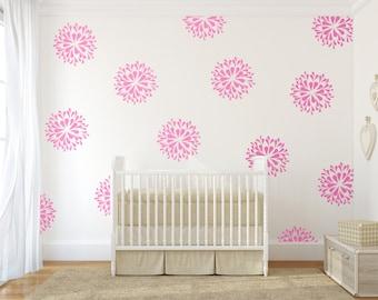 Vinyl wall decal art sticker - Rain Drop flower pattern - pink wall decals - teen room decor