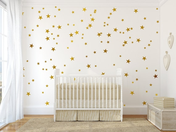Gold Stars Wall Decal Gold Star Vinyl Wall Decals Nursery | Etsy