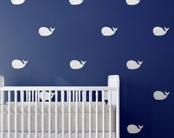 Whale nursery wall art decals - nursery decor, nautical nursery wall decal, Nautical decor, whale art, nautical wall art, baby shower gift