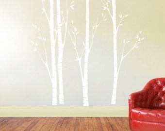 birch tree decal, nursery birch decal, tree wall decal, Four Birch Trees, Vinyl Wall Decal