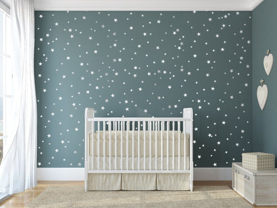 Star Vinyl Wall Decal 48 Silver Stars Star Wall Decal Art Etsy Impressive Etsy Baby Room