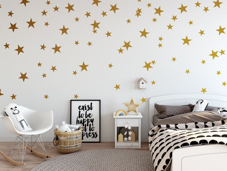 Gold Star Wall Decals | Star wall stickers, removable Vinyl Decal, Nursery  wall decor, Kids room wall decals, baby nursery room decor