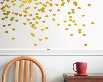 Gold vinyl heart wall decal, wall decal pattern, gold confetti, wall decals, garland, gold garland, heart garland  - Gold vinyl heart decals