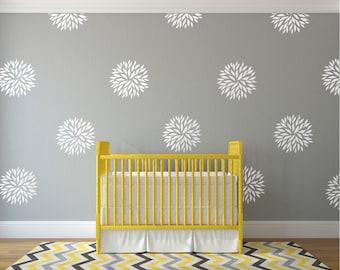 Vinyl wall decal flower blooms - White wall decal pattern flowers nursery decals