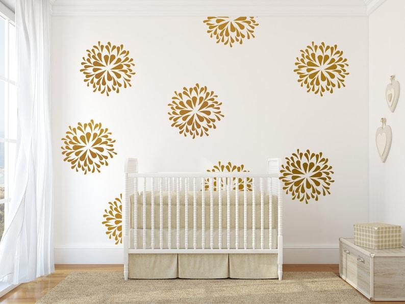 vinyl wall decal art sticker rain drop flower pattern | etsy