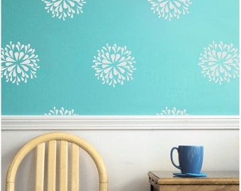 Flower blooms wall decals stencil stickers wall pattern art decal set - White Flower decal pattern set